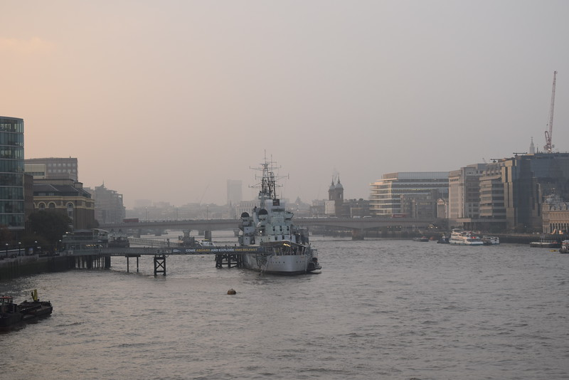 HMS Belfast seen from Tower Bridge.