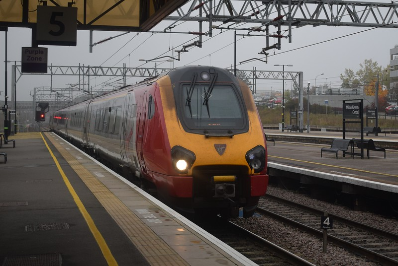 A Virgin Trains Class 221 Super Voyager arrives at Milton Keynes Central on the 10:03 to Euston.