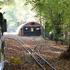 Arriving into Woody Bay station on the Ruislip Lido Railway.