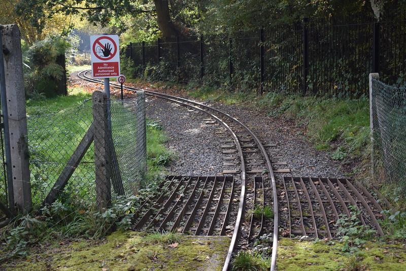 "The 12"" gauge tracks of the Ruislip Lido Railway."