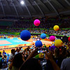 The Bouncing Balls were part of the routine to engage the crowd before each match began.