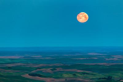 Almost Full Moon, Steptoe Butte, Palouse