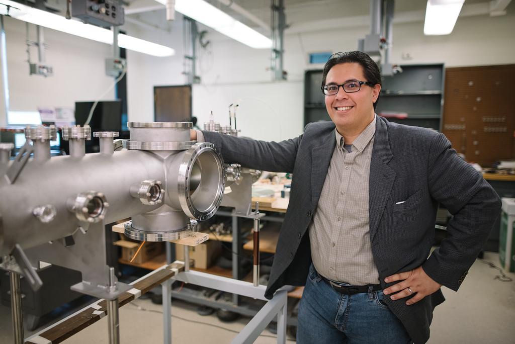 Professor David Schaffner's in his physics lab.