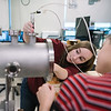 Hayley Johnson and Codie Fiedler Kawaguchi in Professor David Schaffner's physics lab.