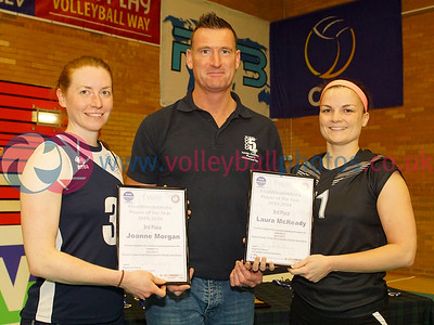 Jo Morgan and Laura McReady (Joint 3rd Place), Final Whistle Media Player of the Year Awards 2015-16, University of Edinburgh Centre for Sport and Exercise, Sun 17 Apr 2016.  © Michael McConville   http://www.volleyballphotos.co.uk/2016/SCO/Cups/20160417-FWM/