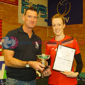 Lynne Beattie (1st Place), Final Whistle Media Player of the Year Awards 2015-16, University of Edinburgh Centre for Sport and Exercise, Sun 17 Apr 2016.  © Michael McConville   http://www.volleyballphotos.co.uk/2016/SCO/Cups/20160417-FWM/