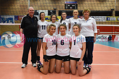 City of Edinburgh v Marr College, Girl's U16 Junior Super Cup Final,, University of Edinburgh, Centre for Sport and Exercise, 16 April 2016.  © Lynne Marshall  http://www.volleyballphotos.co.uk/2016/SCO/JSVL/U16W-Super-Cup/