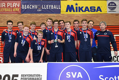 City of Edinburgh 2 v 1 South Ayrshire (25-22, 21-25, 15-8), U18 Boys' Junior Super Cup Final, University of Edinburgh, Centre for Sport and Exercise, 17 April 2016.  © Lynne Marshall  http://www.volleyballphotos.co.uk/2016/SCO/JSVL/U18M-Super-Cup/