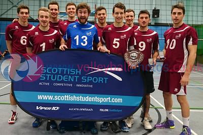 Scottish Student Sport Cup, Men's Final, Dundee University ISE, Sun 14th Feb 2016. Strathclyde University 3 v Dundee University (23, 14, 19)