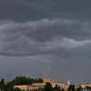 Santa Fe state capitol building at right, lightning strike observed from third floor of parking garage.