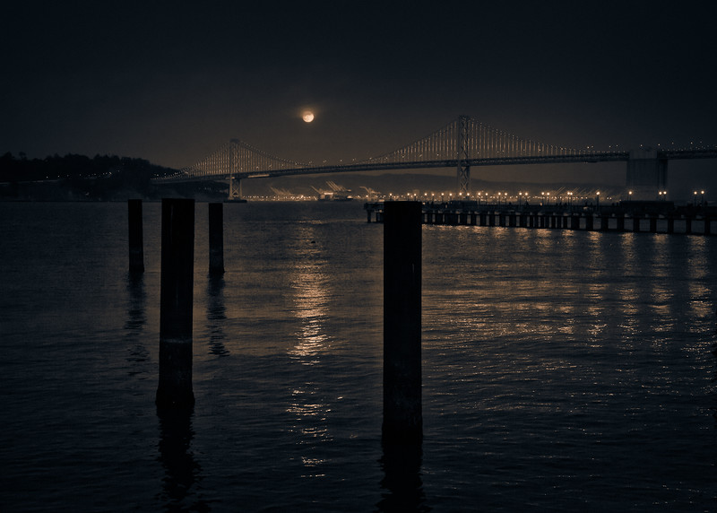 Super Moon Over Bay Bridge
