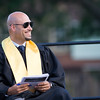 Dr. Robert Padilla, Superintendent of Schools smiles during a speech during Newburgh Free Academy's 151st Commencement Exercises for the graduating Class of 2016 on Academy Field in the City of Newburgh, NY on Thursday, June 23, 2016. Hudson Valley Press/CHUCK STEWART, JR.