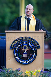 Superintendent of School Dr. Roberto Padilla offers remarks as Newburgh Free Academy held its 151st Commencement Exercises for the graduating Class of 2016 on Academy Field in the City of Newburgh, NY on Thursday, June 23, 2016. Hudson Valley Press/CHUCK STEWART, JR.