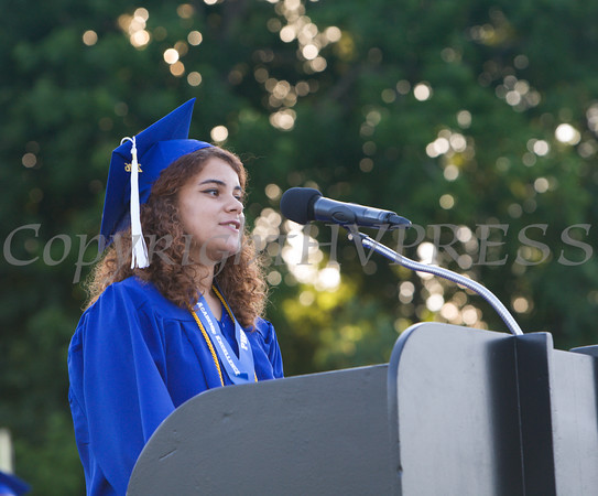 Salutatorian Simone Teague addresses her fellow students during the Poughkeepsie High School 144th Commencement Exercises for the graduating Class of 2016 on Friday, June 24, 2016 in Poughkeepsie, NY. Hudson Valley Press/CHUCK STEWART, JR.