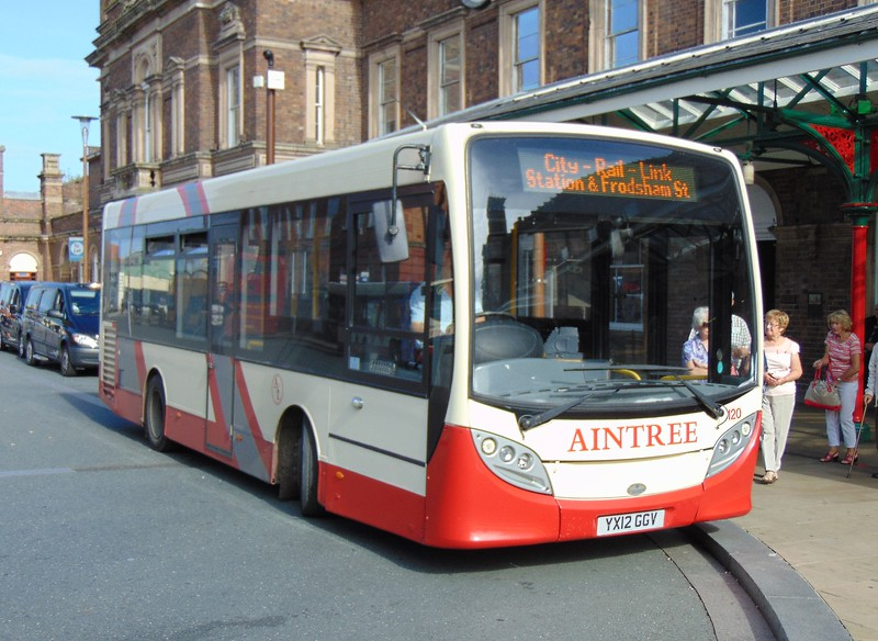 Aintree Enviro 200 YX12GGV 120 at Chester rail station on the city-rail link.
