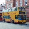 Helms of Eastham 'Inter The City' liveried Dennis Trident Plaxton President LK03GHH 128 at Chester station.