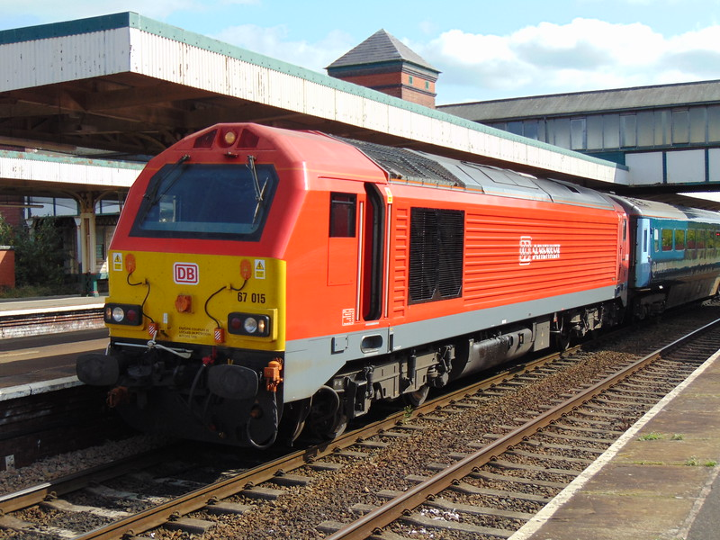 DB Cargo Class 67 no. 67015 at Llandudno Junction on an Arriva Trains Wales service to Holyhead.