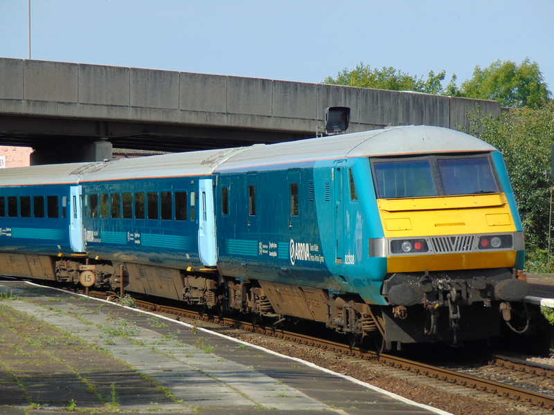 Arriva Trains Wales mk3 Driving Van Trailer no. 82308 on the rear of a Holyhead service at Llandudno Junction.