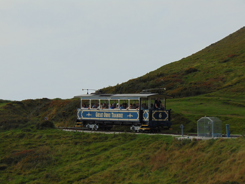 """Great Orme Tramway car no. 6 """"St. Seiriol"""" working between Halfway and Summit."""