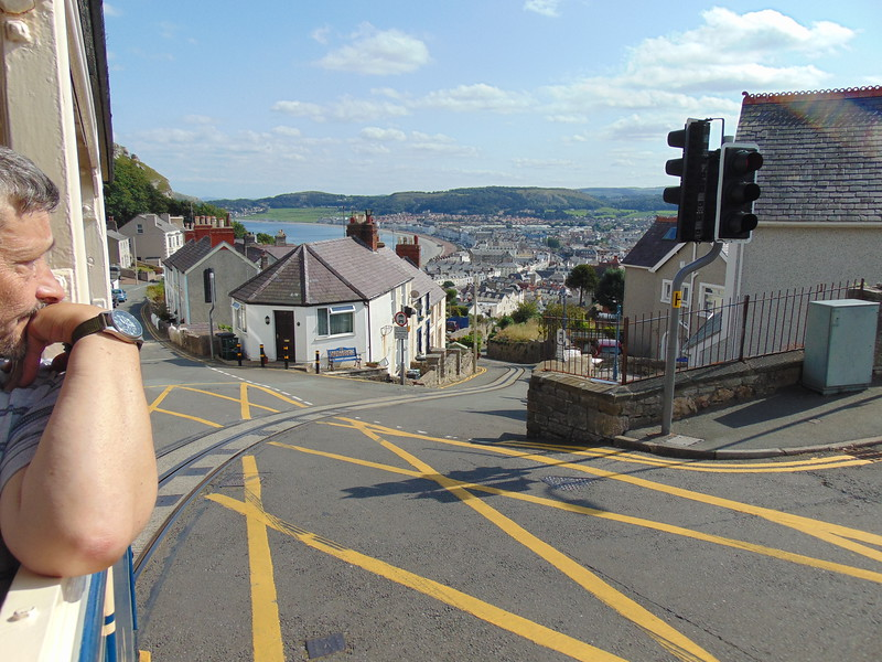 Climbing out of Llandudno Victoria up Ty Gwyn Road on the Great Orme Tramway.