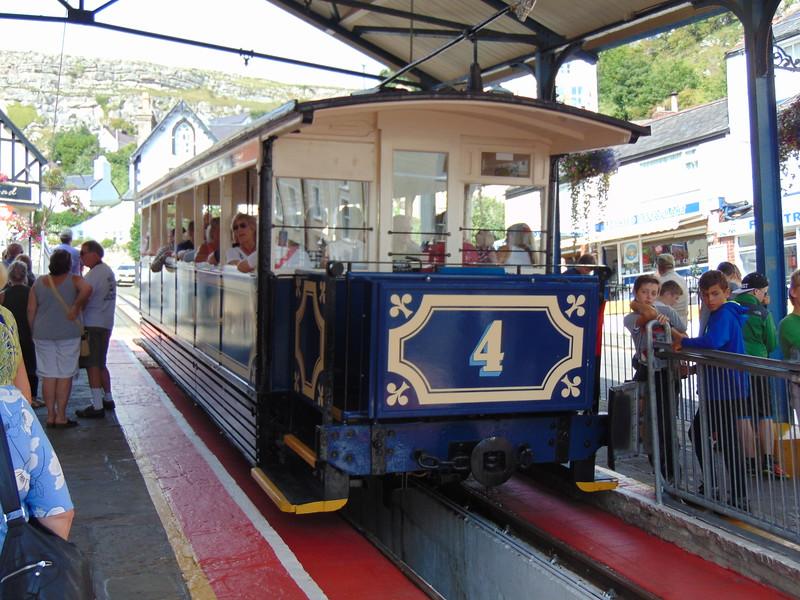 """Great Orme Tramway car no. 4 """"St. Tudno"""" at Victoria station, Llandudno."""