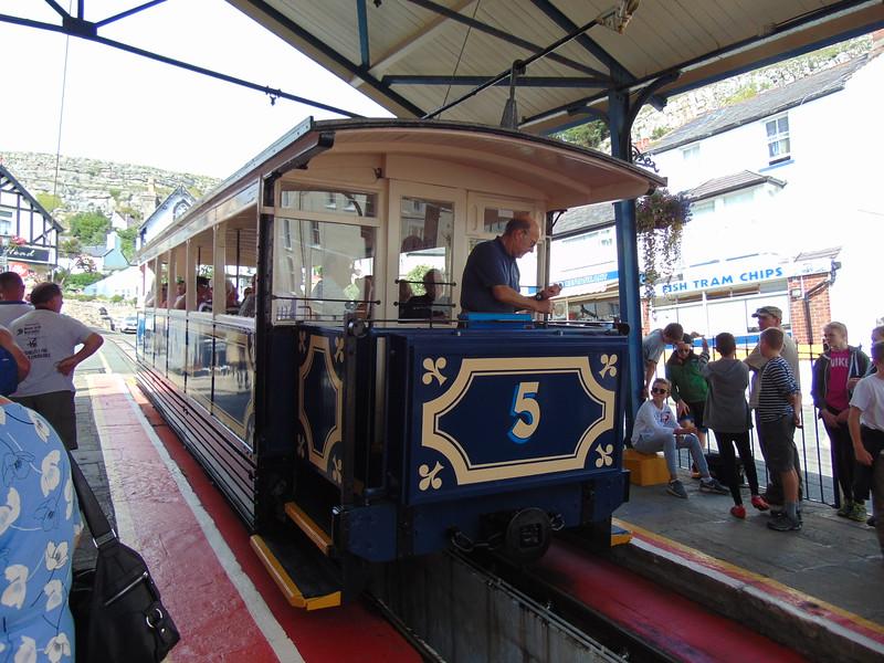"Great Orme Tramway car no. 5 ""St. Silio"" at Victoria station, Llandudno."