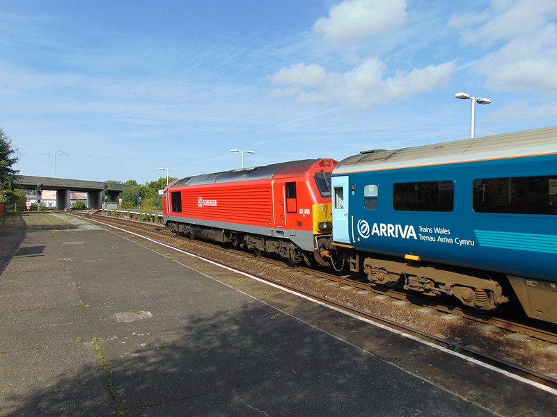 DB Cargo Class 67 no. 67015 leaving Llandudno Junction on an Arriva Trains Wales service to Holyhead.