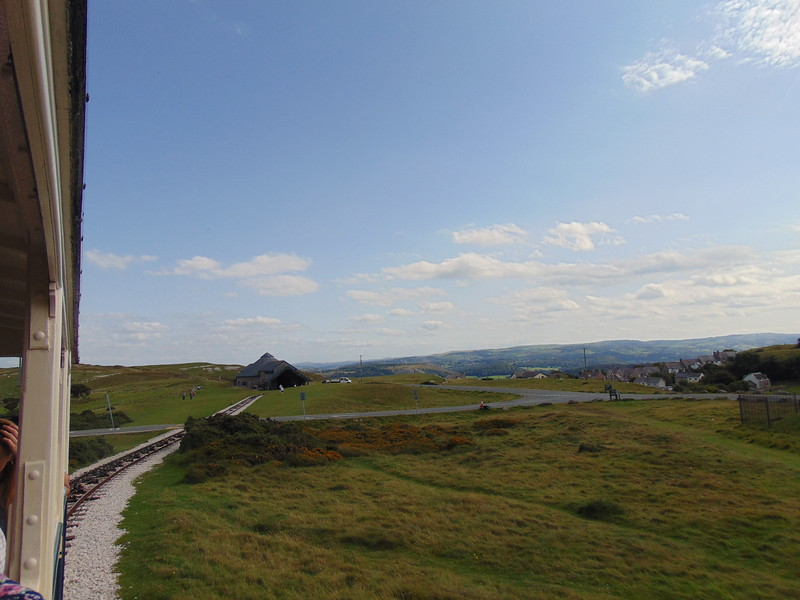 Riding the Great Orme Tramway away from Halfway towards Summit.