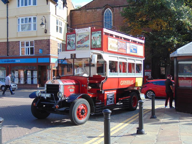 Replica LGOC B-Type Bedford SB5 946WAE B1439 in Chester on heritage tours.