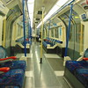 London Underground Piccadilly Line 1973 Tube Stock interior between Kings Cross and Holborn.