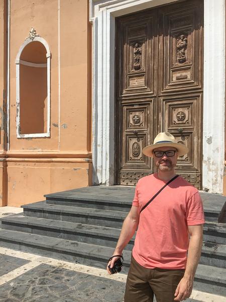 Joe by the church door