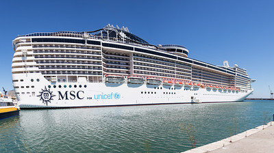 The 333 metre long MSC Preziosa berthed in Palermo port. Our ferry to Salina was slightly smaller!