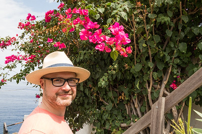Joe underneath a bougainvillea