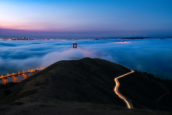 From a beautiful morning up on Slacker Hill with Low Fog!