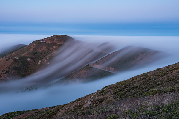 I was pretty intrigued how the fog was spilling over the Marin Headlands, so I pointed the camera back towards Hawk Hill.