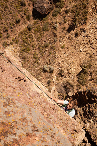 Tracy finishes up the final pitch of <i>The Pioneer Route 5.7 C0</i> on the Monkey Face Tower.
