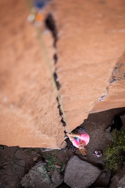 Tracy tries out the hand jams on <i>Gold Rush 5.10</i> at Trout Creek.