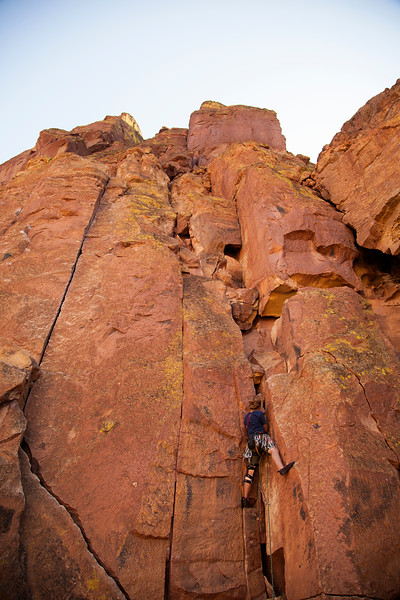 Ezra tries out the sharp end on <i>Moscow 5.6</i>, a route that hopefully won't push the limits of his rehabilitating knee injury.