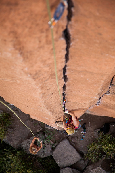 Wes follows his way up the beautiful jams on <i>Gold Rush 5.10</i> at Trout Creek.