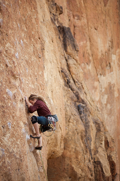 Noah leads <i>Pop Goes the Nubbin 5.10a</i> at Smith Rock.