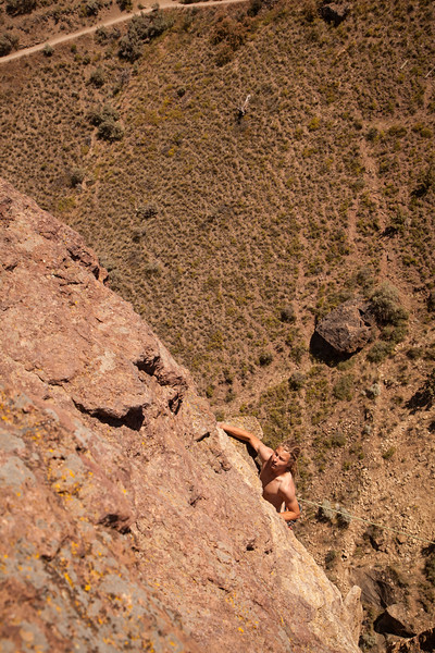 Noah finishes up the final pitch of <i>The Pioneer Route 5.7 C0</i> on the Monkey Face Tower.