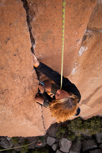 Ezra follows his way up the beautiful jams on <i>Gold Rush 5.10</i> at Trout Creek.