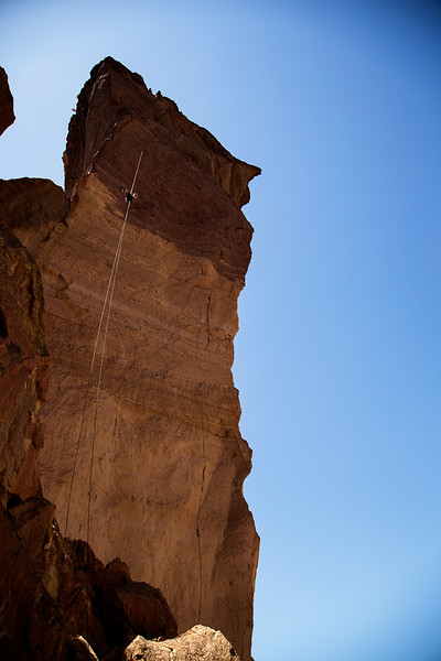The enormously fun and max-length rappel from the Monkey Face Tower provides a full 60 meter ropelength drop directly onto the starting ledge, with a little rope stretch.