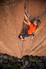 Noah follows his way up the beautiful jams on <i>Gold Rush 5.10</i> at Trout Creek.