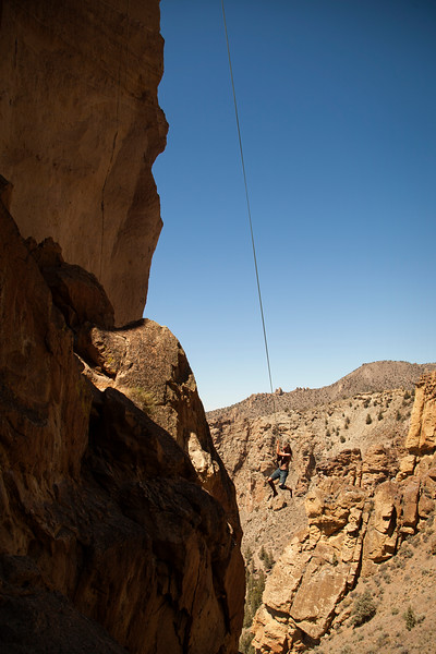 A free hanging 60 meter rope provides a pretty strong temptation to take a swing. We, of course, indulged.