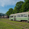 Passing at PCC at the Shelburne Falls Trolley Museum Pan Am's EDRJ heads west with two high hood GP40s.