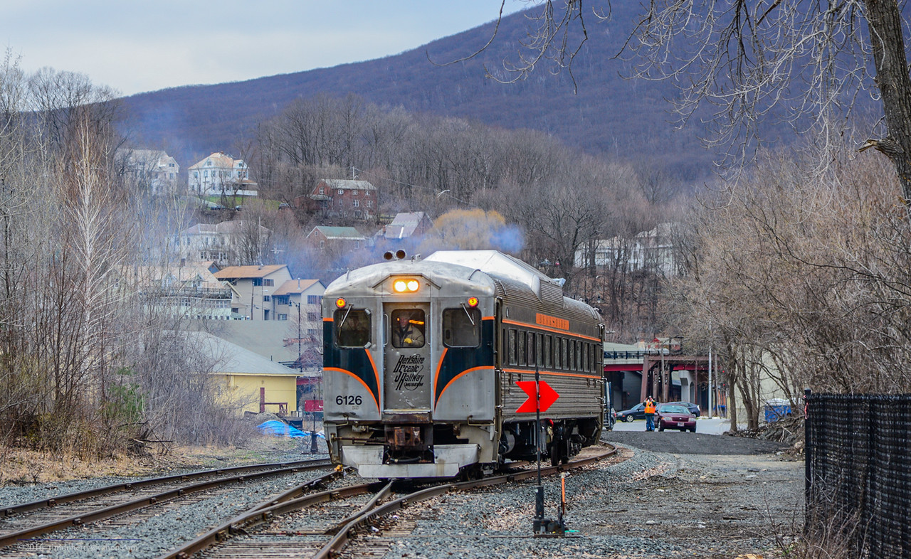 Former MBTA RDC crosses a former MBTA #10 switch leaving the Station track in North Adams.