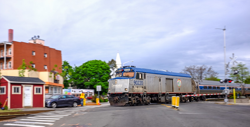 Amtrak cabbage 90220 takes the Downeaster through West Medford on May 22, 2016.