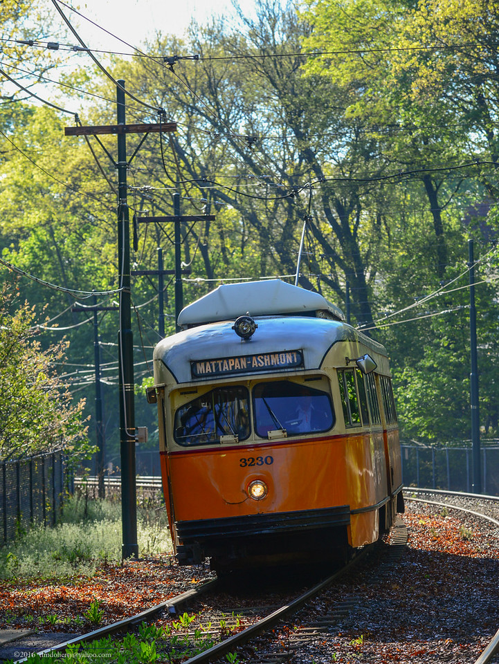 Ariving at Capen Street in Milton on the Mattapan Line.