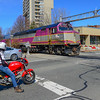 The Readville Switcher crossing Cambridge Street on the Grand Juction Branch.